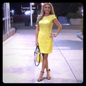 Neon yellow lace pencil dress. Sz.small